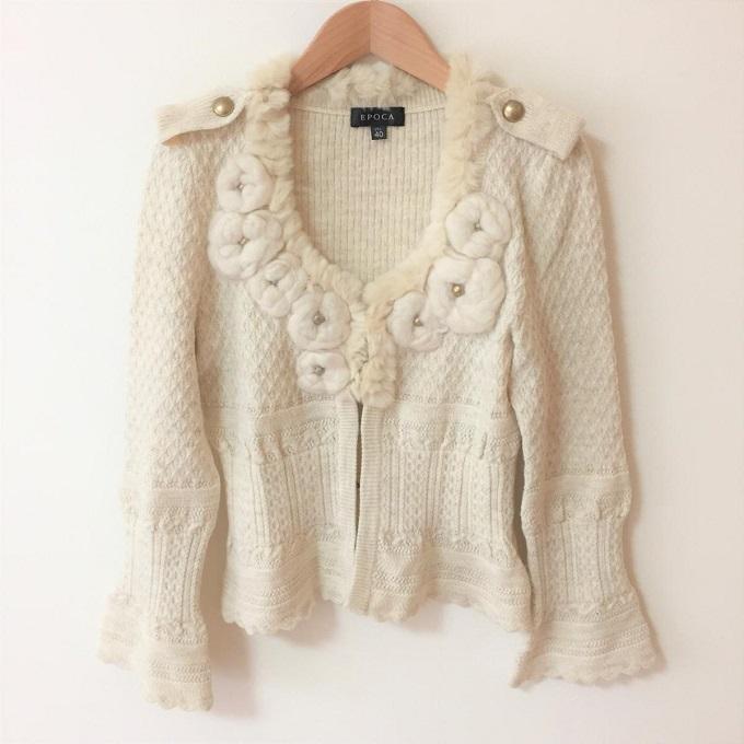EPOCA エポカ買取おすすめ、レッキスファー 毛糸編み カーディガン